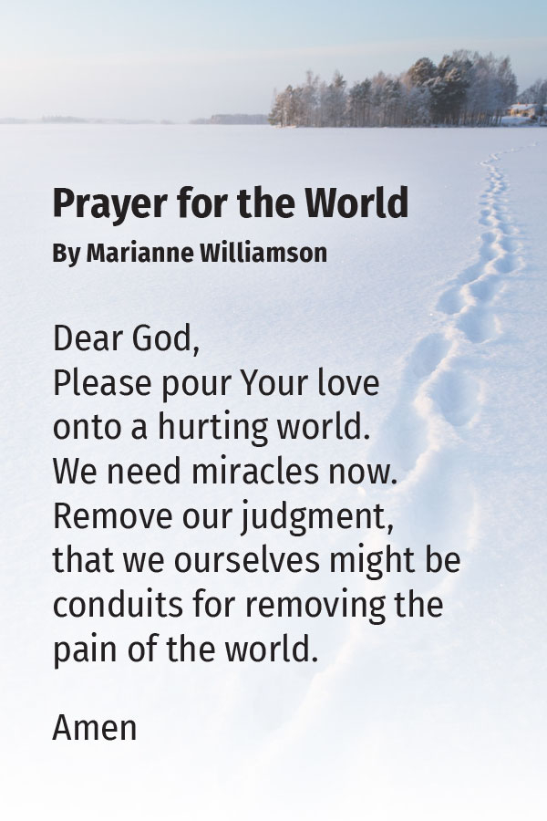 Prayer for the World, by Marianne Williamson | Gabby Bernstein's favorite prayers for peace