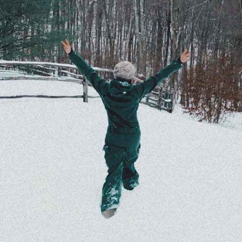 Gabby Bernstein manifesting joy in the snow
