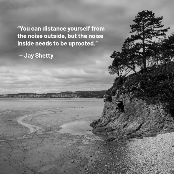 Jay shetty quote surrounding mountains.