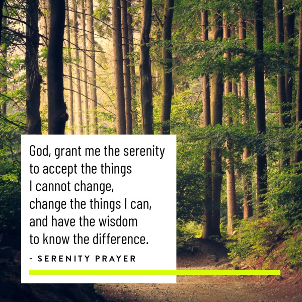 Serenity Prayer with image of woods