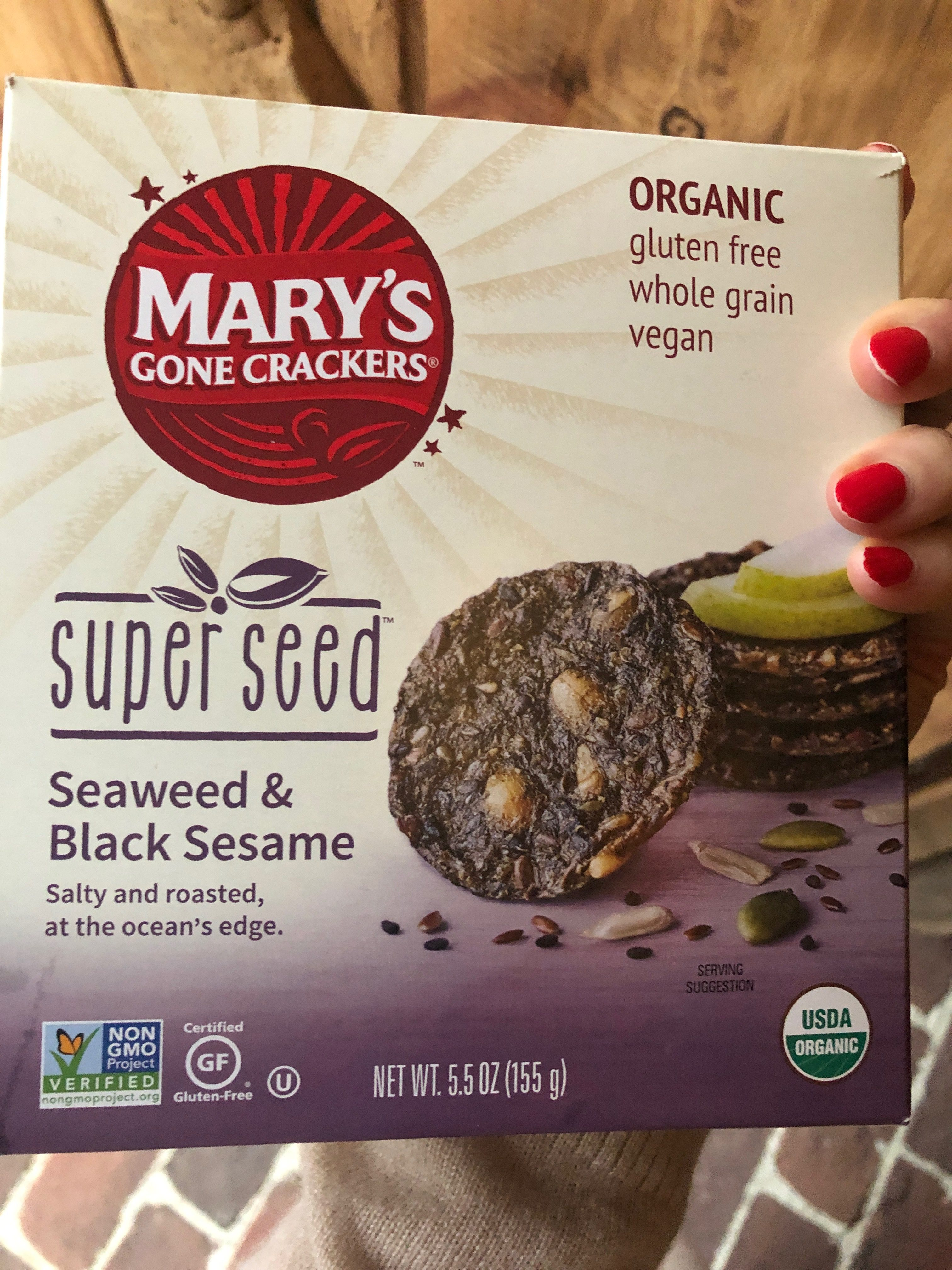Mary's Gone Crackers seaweed and black sesame crackers gluten free