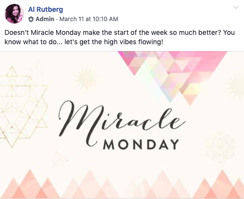 Miracle Monday post in the Miracle Membership private Facebook community