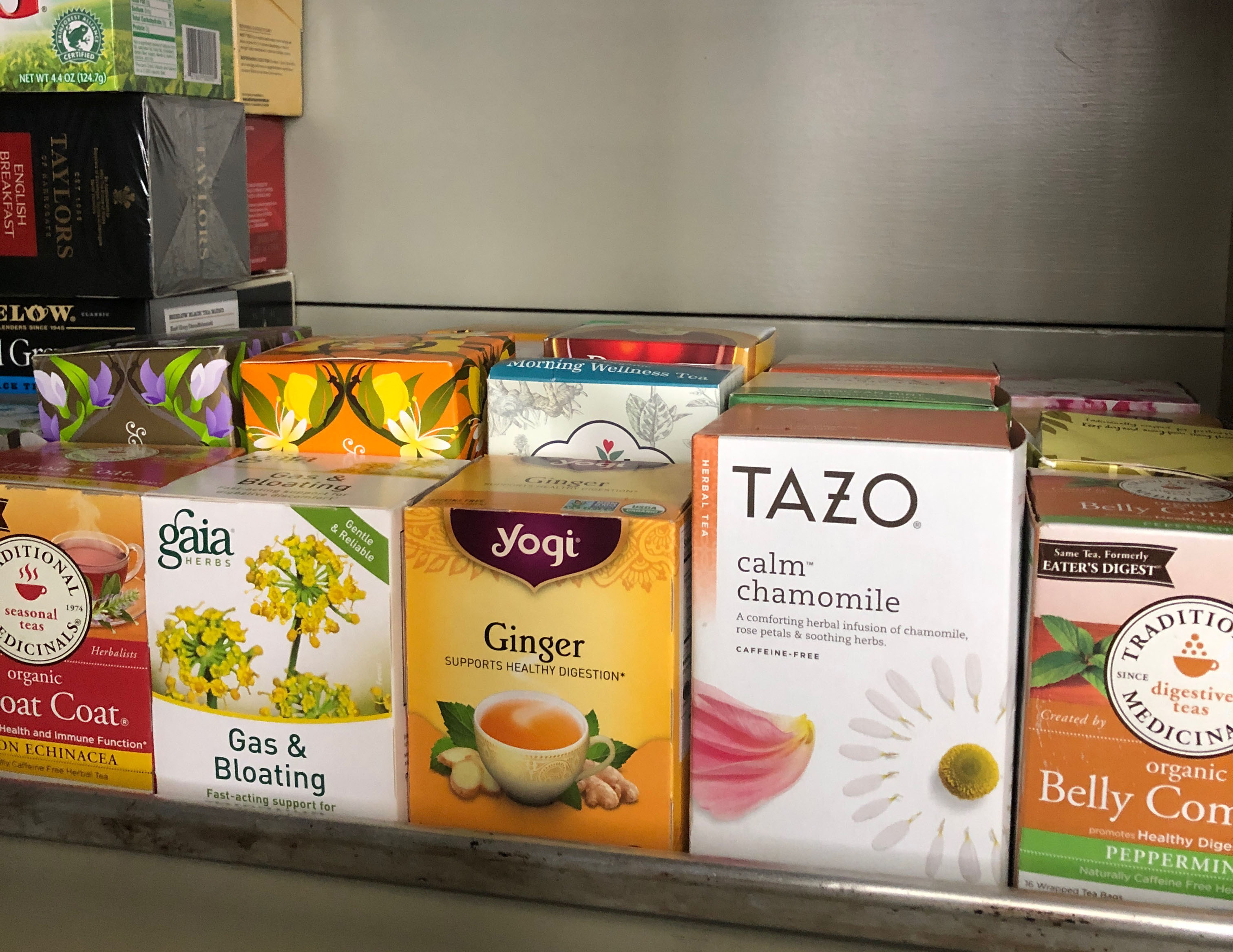 Herbal teas in Gabby Bernstein's pantry